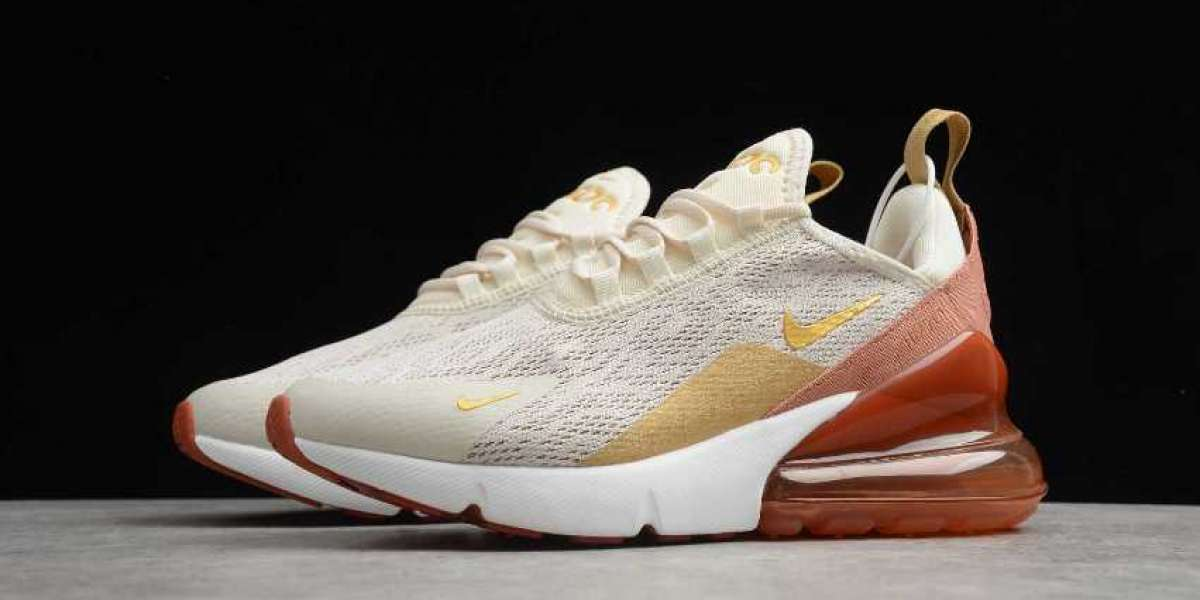 New Nike Air Max 270 Light Cream Metallic Gold for Sale